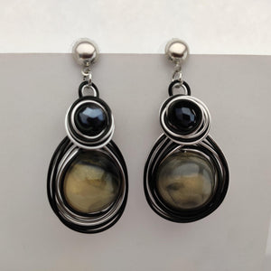 Black and Silver Wire Earrings ES875 | Sunu's Fashions