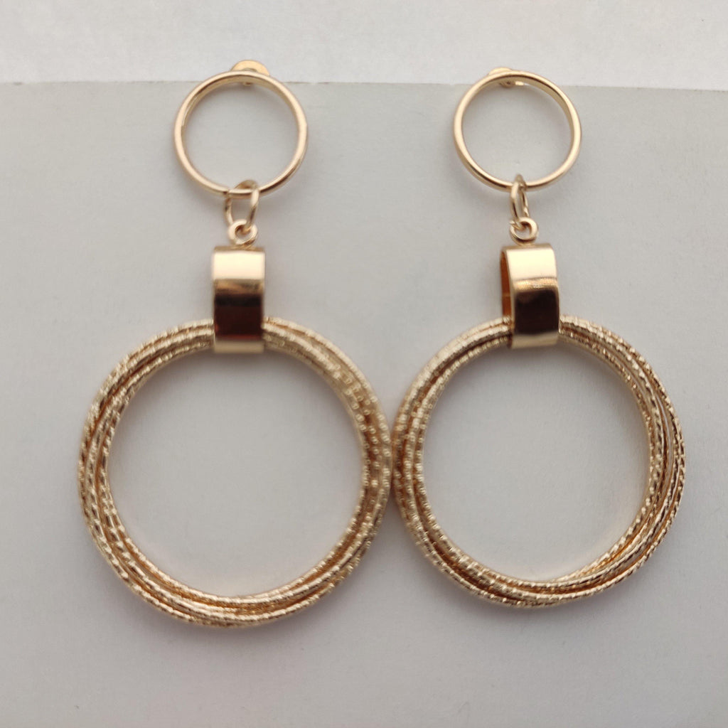 Golden Concentric Circles Drop Earrings ES884 | Sunu's Fashions