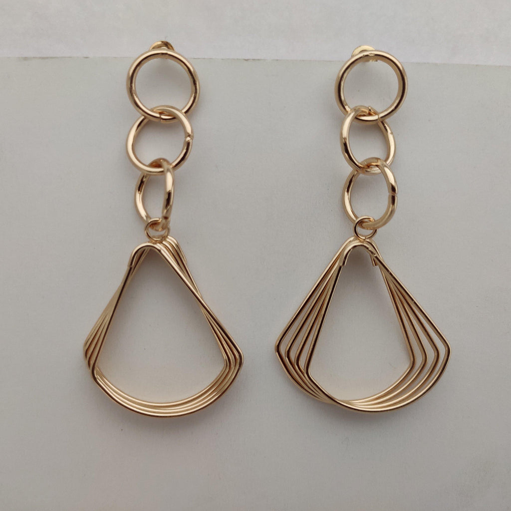 Geometric Golden Metal Earrings ES881 | Sunu's Fashions