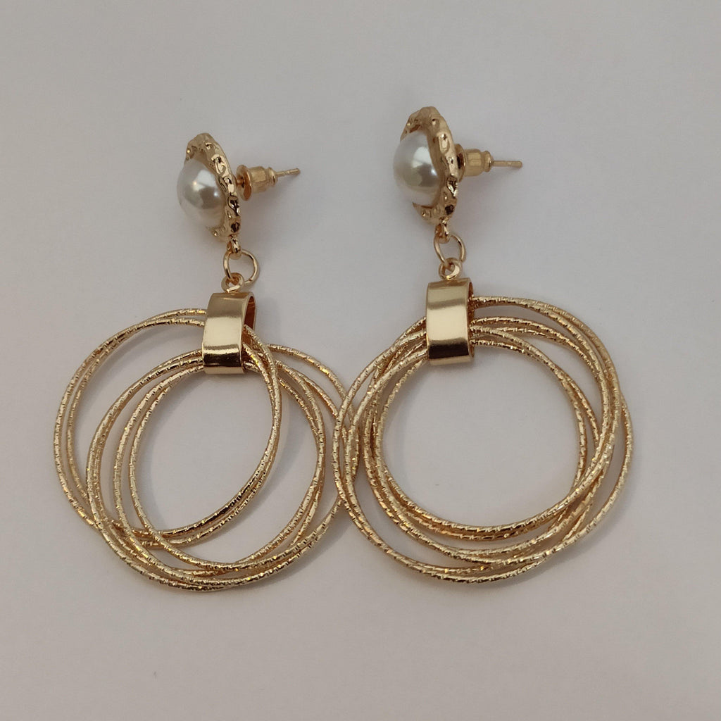 Golden Concentric Circles Drop Earrings ES878 | Sunu's Fashions