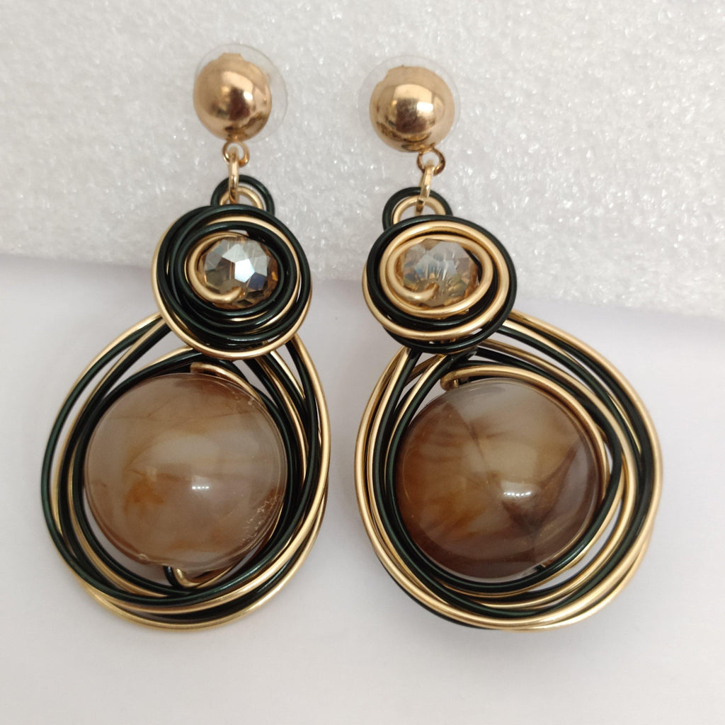 Black And Golden Wire Earrings ES876 | Sunu's Fashions
