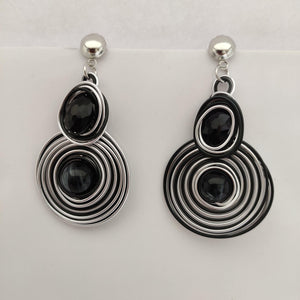 Black And Silver Wire Earrings ES883 | Sunu's Fashions