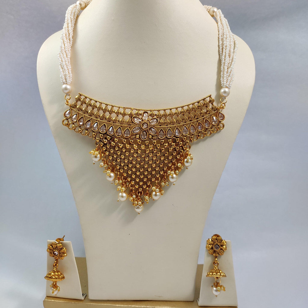White Beaded Antique Choker Necklace NKC417 | Sunu's Fashions