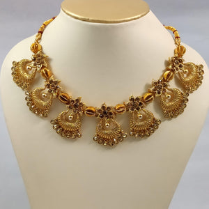 Antique Golden Designer Necklace NKC415 | Sunu's Fashions
