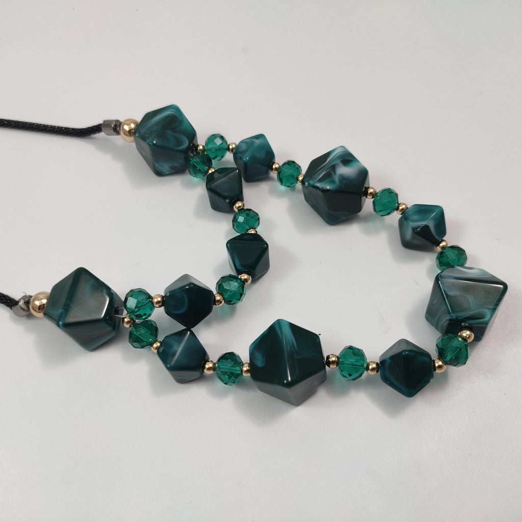 Shiny Agate Stone Long Necklace NKC419 | Sunu's Fashions