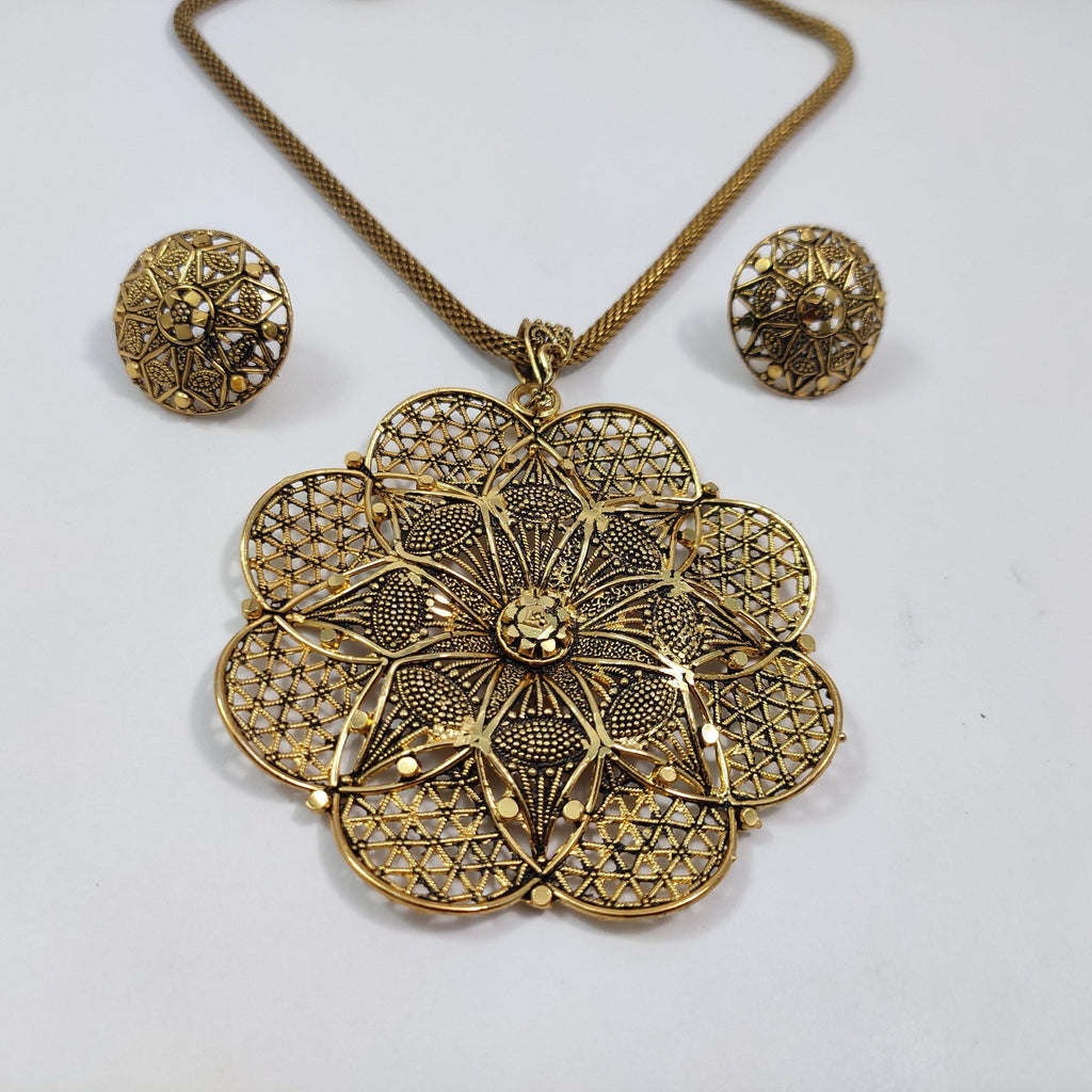 Golden Floral Pendant Necklace Set NKC424 | Sunu's Fashions