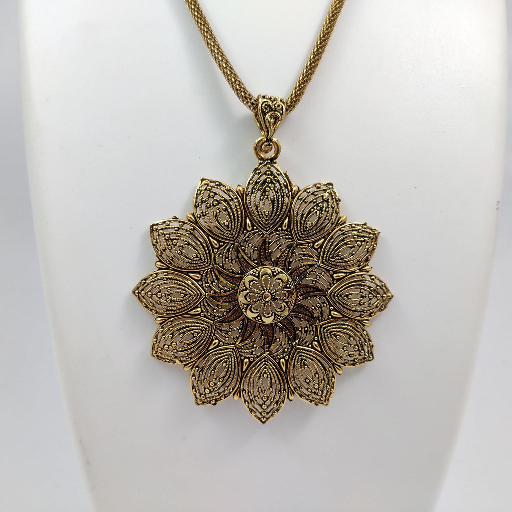 Golden Floral Pendant Necklace Set NC425 | Sunu's Fashions