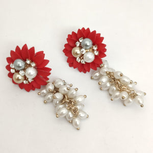 Red Floral Fantasy Earrings ES892 | Sunu's Fashions