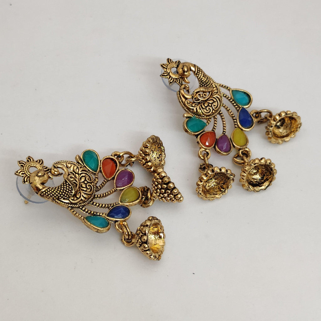 Golden Peacock Oxidized Earrings ES886 | Sunu's Fashions