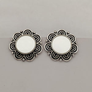 Oxidized Silver Mirror Earrings ES888 | Sunu's Fashions