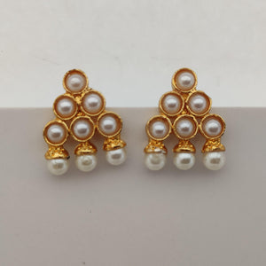 White Triangle Kemp Stone Earrings ES898 | Sunu's Fashions