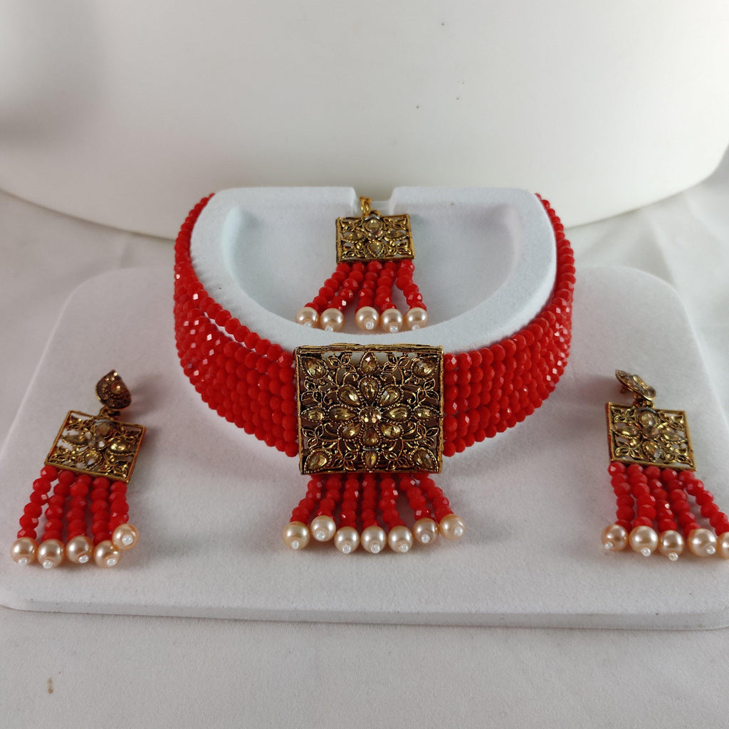 Red Beaded Choker NKC457