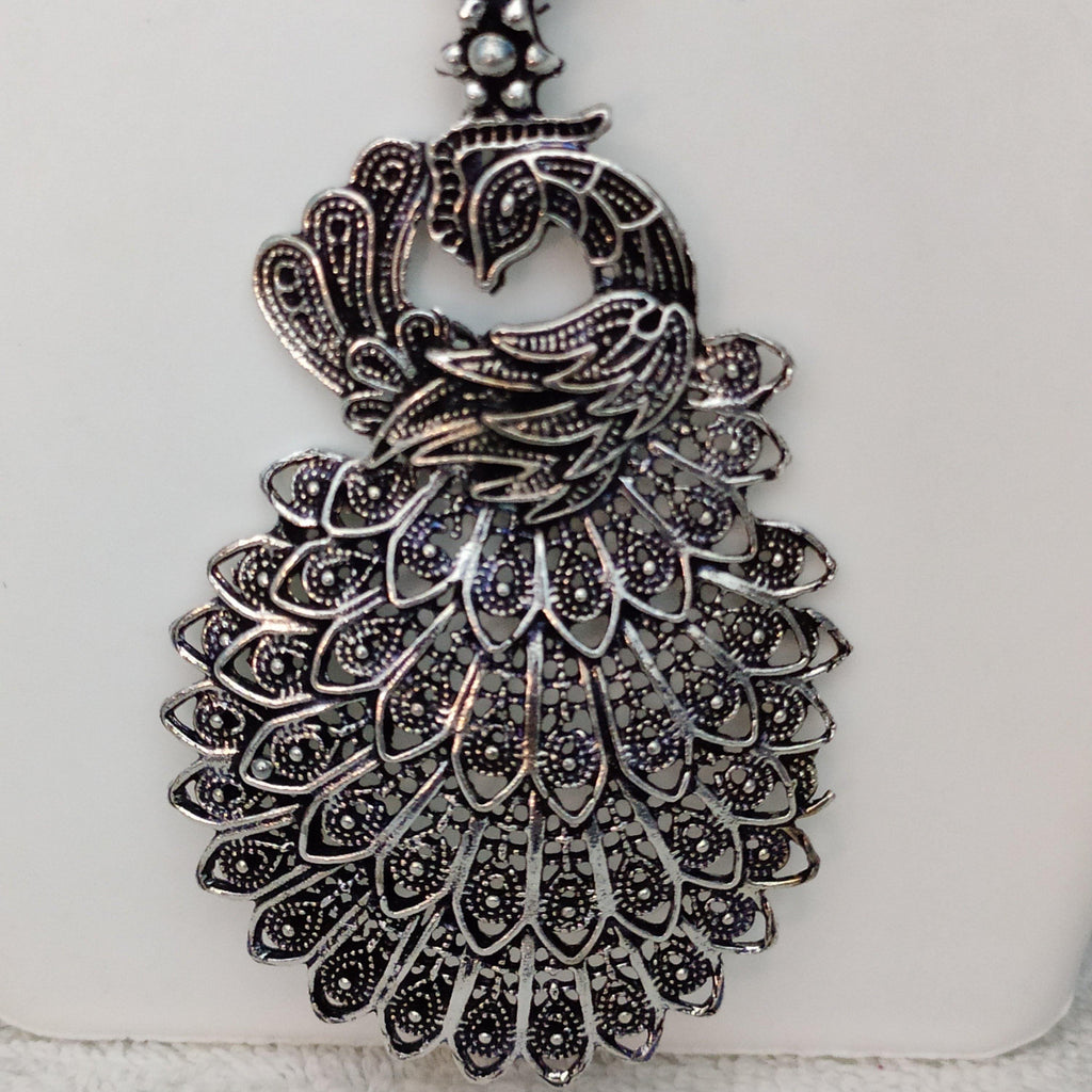 Intricate Peacock Pendant Oxidised Chain NKC324