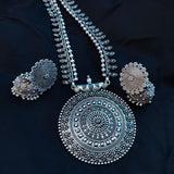 Oxidised Silver Necklace with Round Tribal Pendant NKC303 - Sunu's Fashions