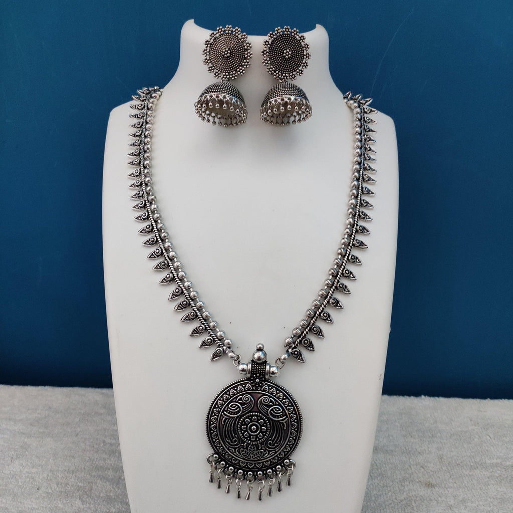 Oxidised Silver Necklace with Tribal Pendant NKC302 - Sunu's Fashions