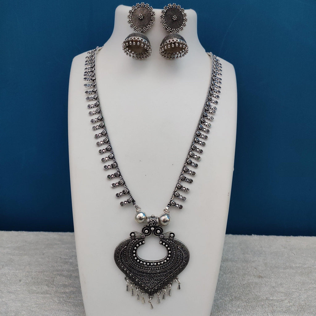 Oxidised Silver Necklace With Tribal Pendant NKC304 - Sunu's Fashions