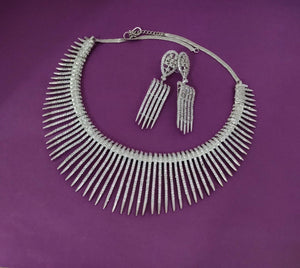 Bright Spark AD Silver Necklace NKC483 - Sunu's Fashions