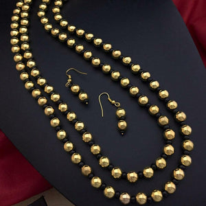 Double Layered Golden Beads Necklace NKC492