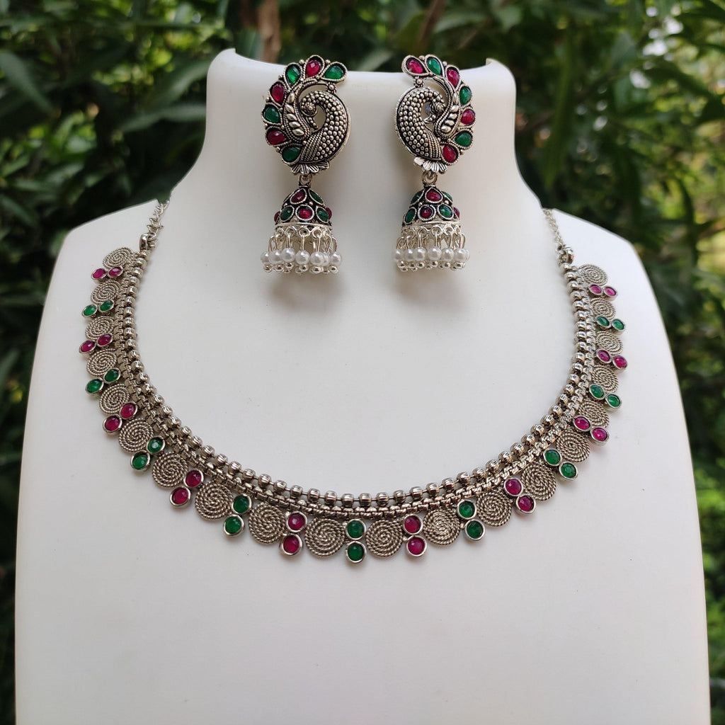 Multi Stone Silver Necklace NKC209 | Sunu's Fashions