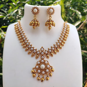 Antique White beads Necklace NKC163 | Sunu's Fashions