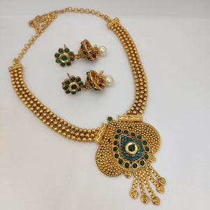 Green Antique Necklace NKC540 - Sunu's Fashions