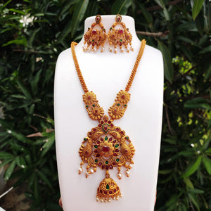 Antique Floral Pendant Necklace Set NKC317 - Sunu's Fashions