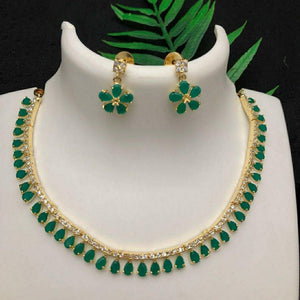 Ad green stone necklace NKC561 - Sunu's Fashions
