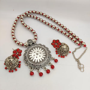 Red beaded necklace NKC567 - Sunu's Fashions