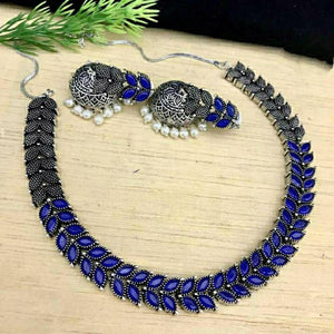 Blue Oxidised necklace NKC579 - Sunu's Fashions