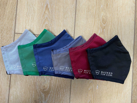 Reusable branded 3 layer masks in six colours for Canada and USA