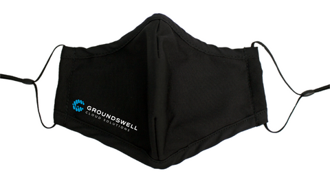 Groundswell Cloud Solutions custom branded logo reusable face mask