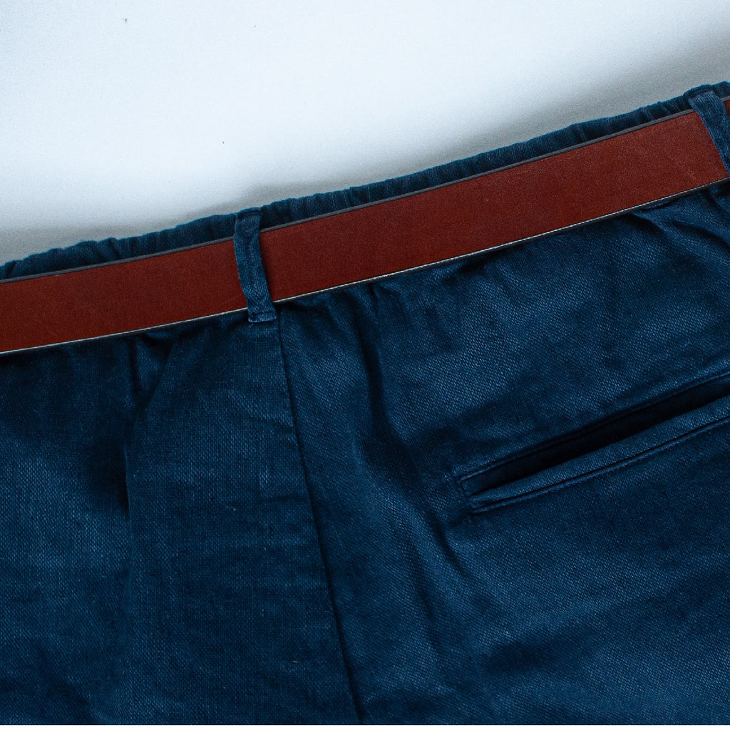 Navy Stretch Italian Cotton Linen Shorts