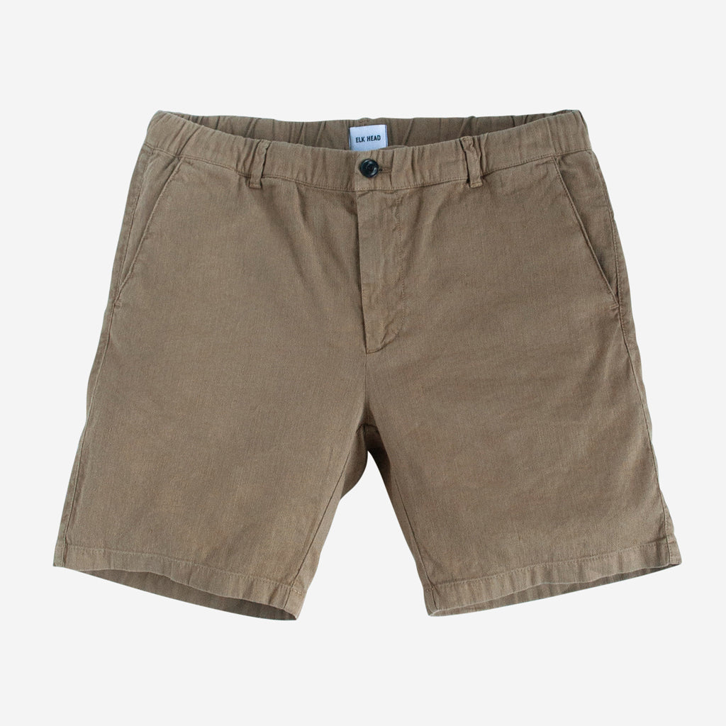 Camel Stretch Italian Cotton Linen Shorts