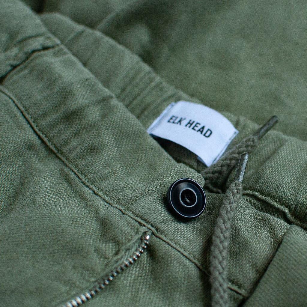 Olive Stretch Italian Cotton Linen Shorts