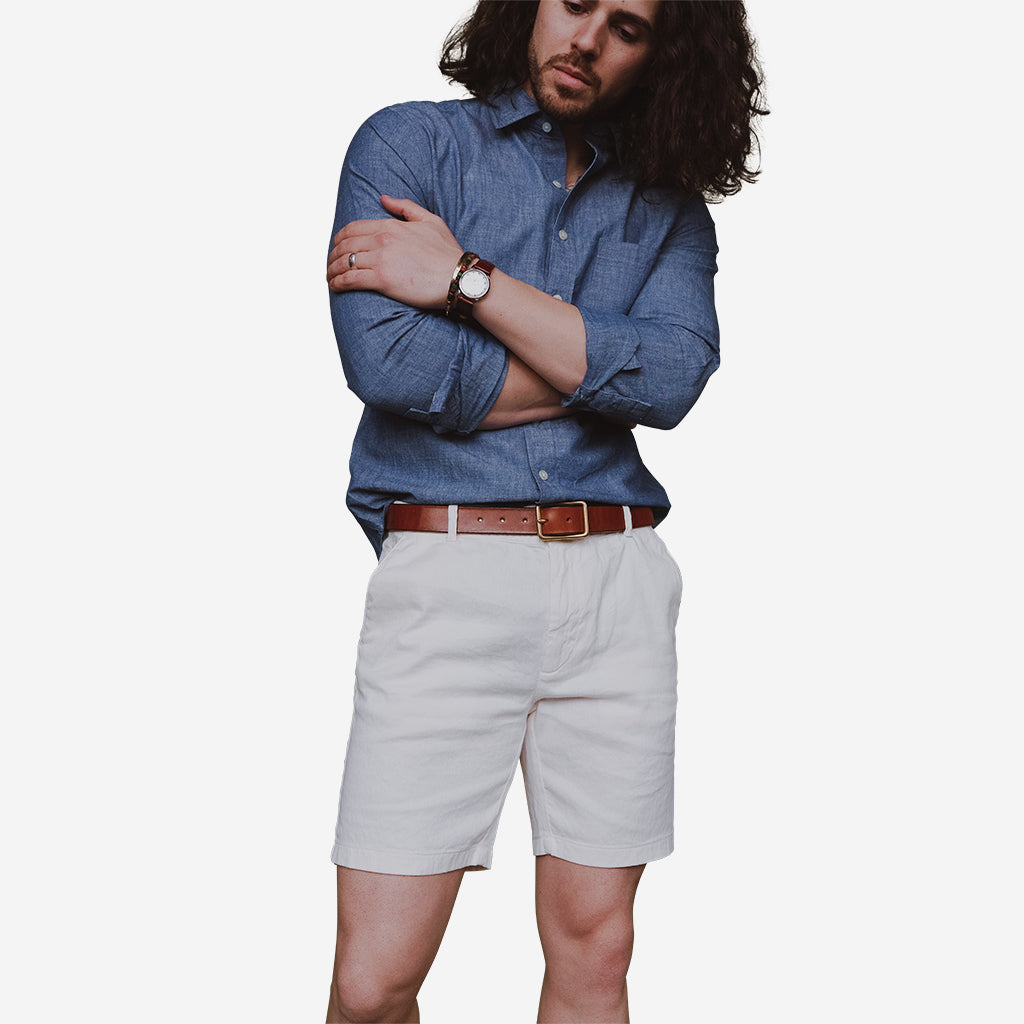 Off White Stretch Italian Cotton Linen Shorts