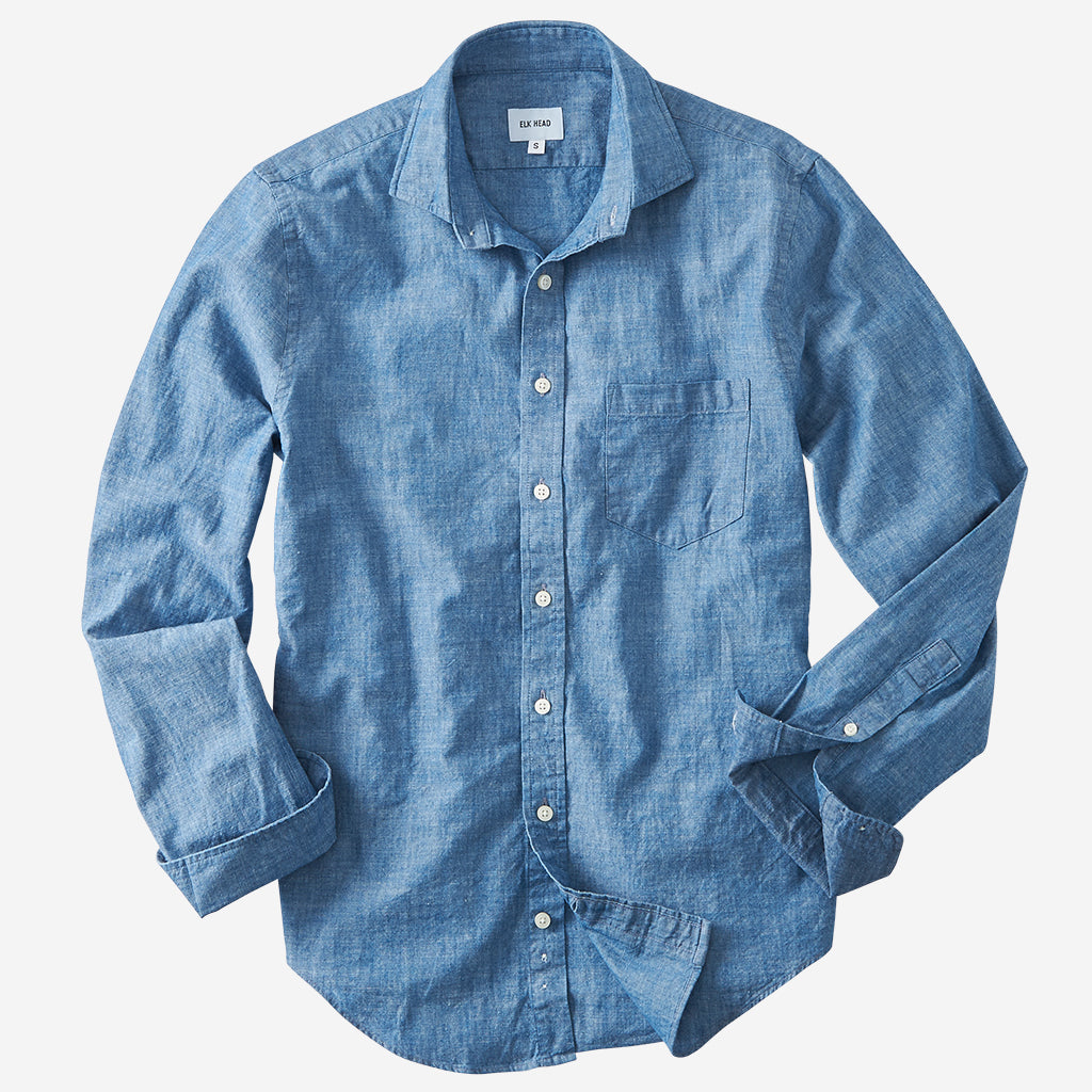 Chambray Spread Collar
