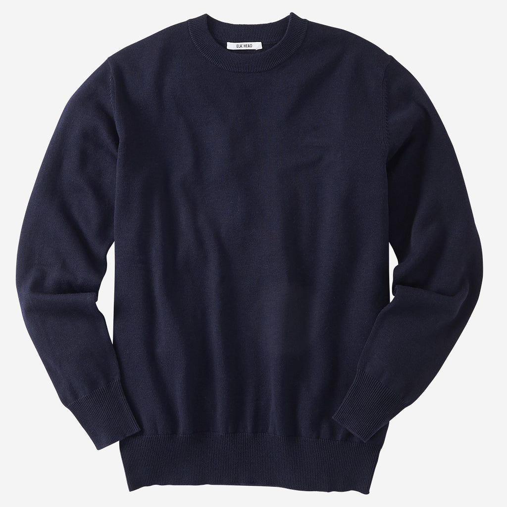 Superfine Merino Navy Crewneck Sweater