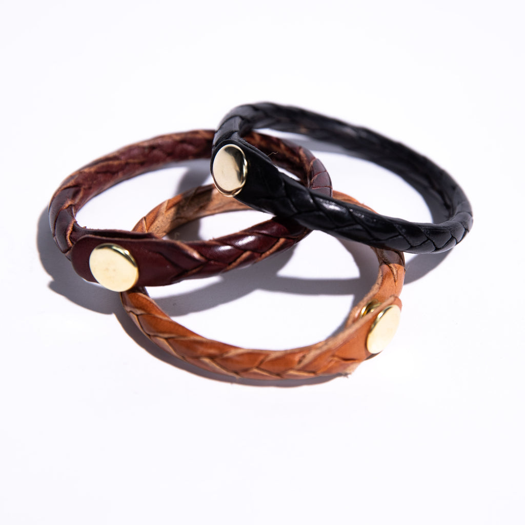 Tan Woven Leather Bracelet