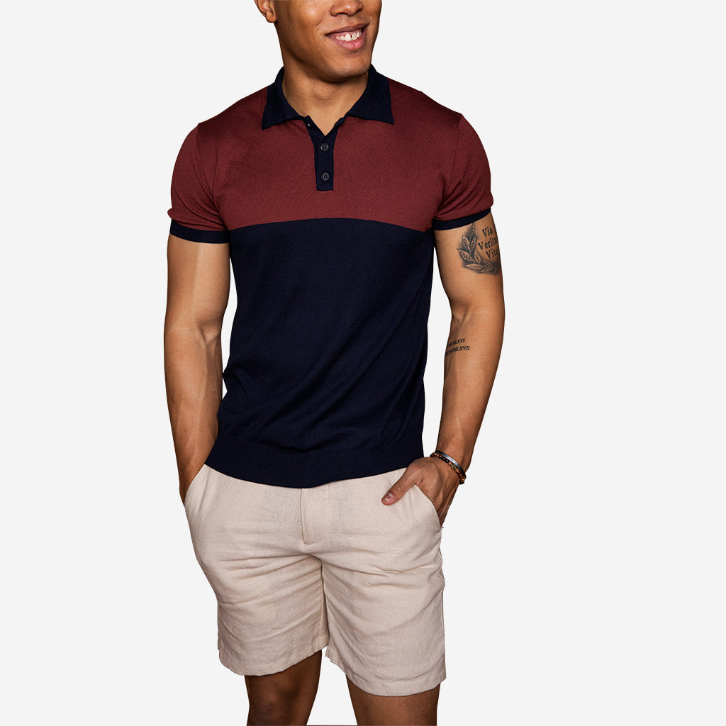 Superfine Merino Colorblock Polo