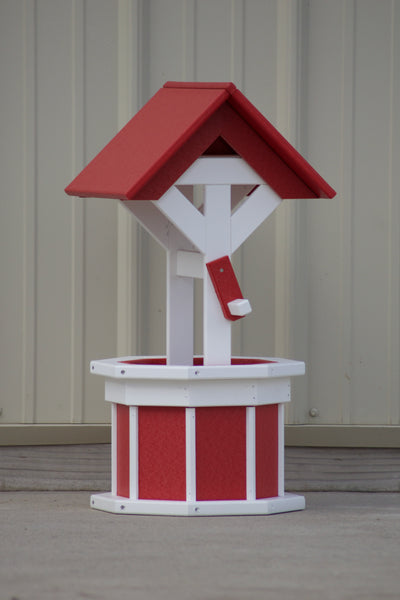 2 ft. Poly Wishing well Planter, Red and White