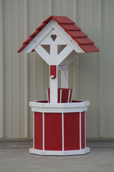 4 ft. Poly Wishing Well with Planter Bucket, Red and White