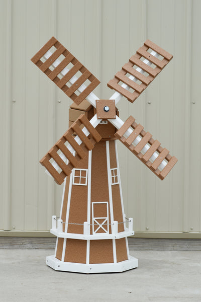 "46"" Octagon Poly Dutch Windmill, Carmel/white trim"