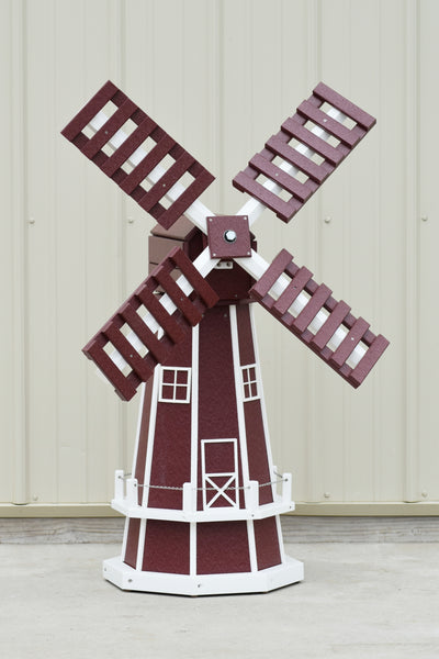 "46"" Octagon Poly Dutch Windmill  Cherry with White Trim"