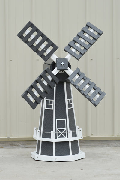 "46"" Octagon Poly Dutch Windmill, Gray with White Trim"
