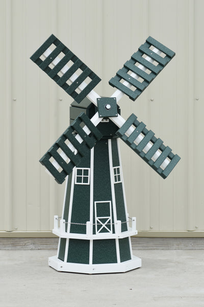 "46"" Octagon Poly Dutch Windmill, Green/white trim"