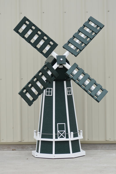 5 ft. Octagon Poly Dutch Windmill (Green/white trim)
