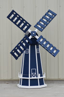 5 ft. Octagon Poly Dutch Windmill in Navy Blue with White Trim