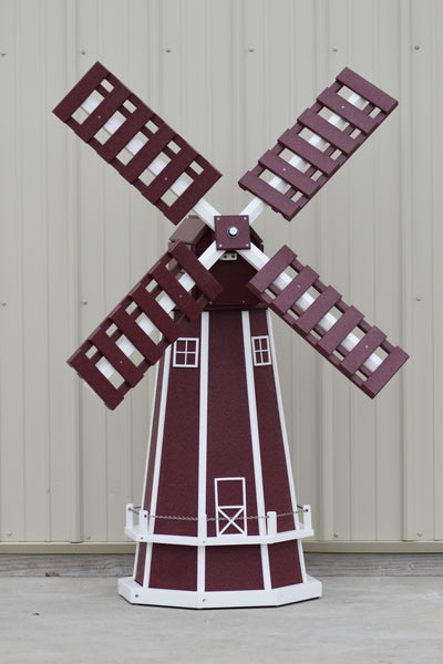 5 ft. Octagon Poly Dutch Windmill (Cherry/white trim)