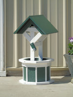 2 ft. Poly Wishing well, Flower Planter, Green and White