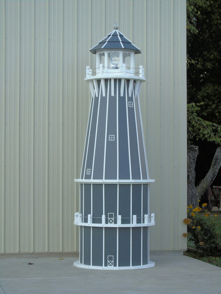 12 foot Solar and Electric Powered Poly Lighthouse. (Poly Lumber Lighthouses)